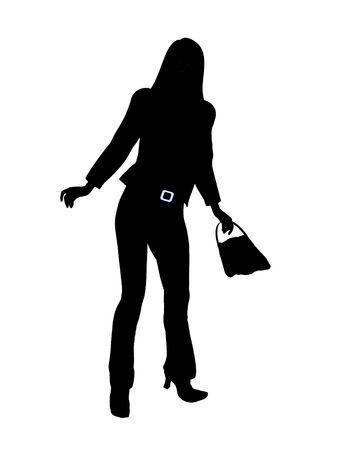Weibliche Business executive Silhouette auf einem weißen Hintergrund Standard-Bild - 5616314