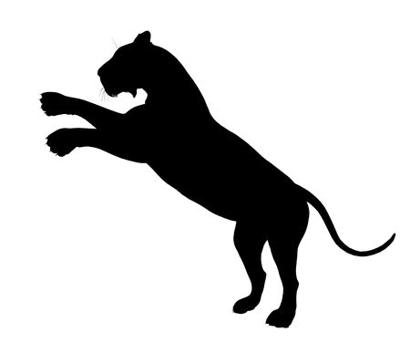 Black lion art illustration silhouette on a white background