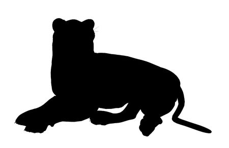 Black lion art illustration silhouette on a white background illustration