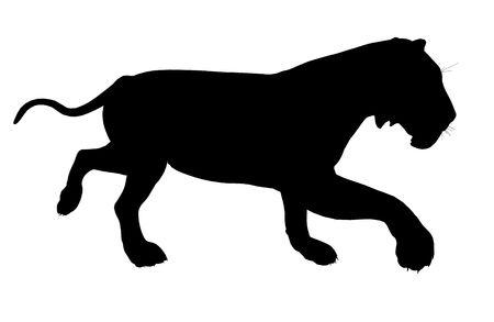 Black lion art illustration silhouette on a white background