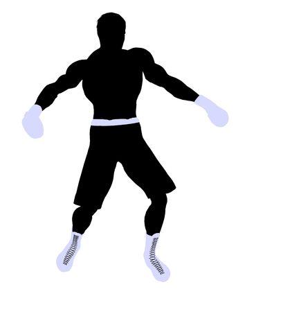 Male boxing art illustration silhouette on a white background Reklamní fotografie