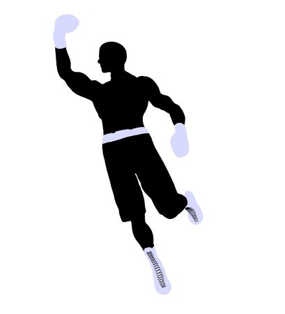 Male boxing art illustration silhouette on a white background Reklamní fotografie