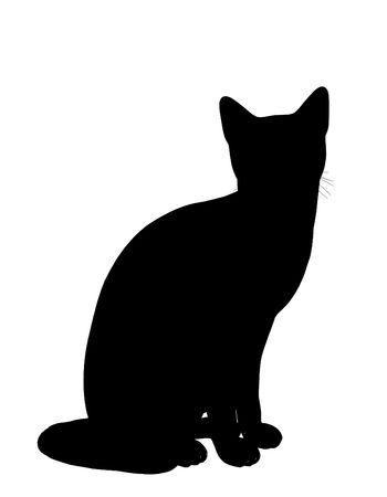Silueta de ilustración de arte de gato negro sobre un fondo blanco Foto de archivo