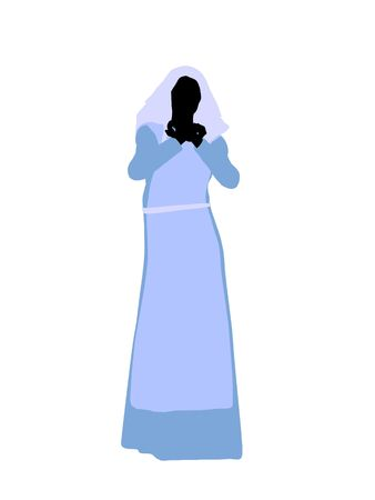 A female bilbical illustration silhouette on a white background