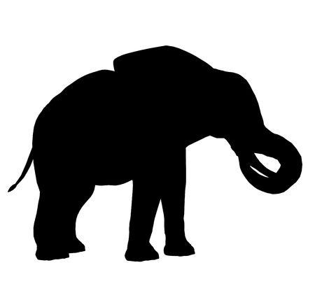 Zwarte olifant kunst illustratie silhouet op een witte achtergrond
