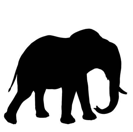 Zwarte olifant kunst illustratie silhouet op een witte achtergrond  Stockfoto