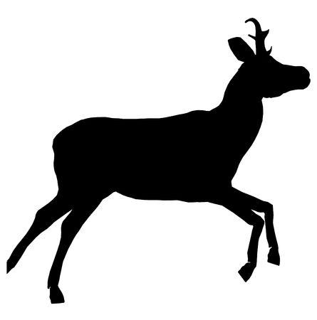 Black deer art illustration silhouette on a white background