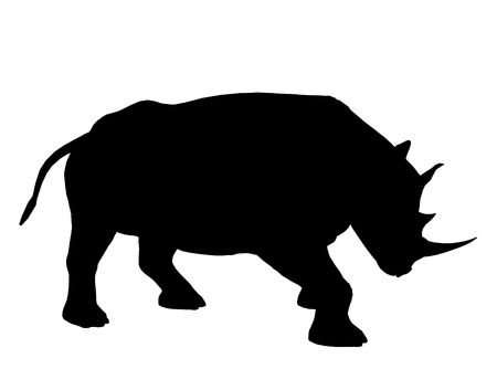 Rhinoceros illustration silhouette on a white background