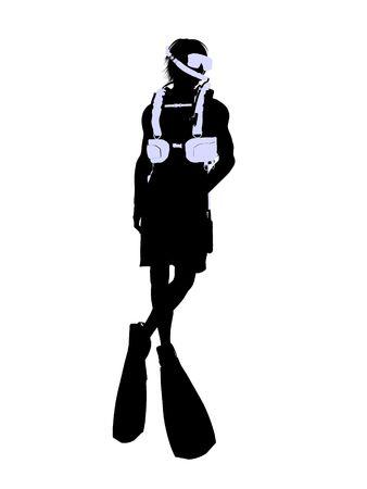 白い背景の上の男性のスキューバ ダイバー アート イラスト シルエット