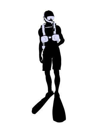 白い背景の上の男性のスキューバ ダイバー アート イラスト シルエット 写真素材 - 5682517