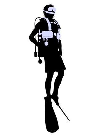 白の背景に男性スクーバダイバー アート イラスト シルエット