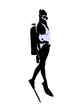 白い背景の上の女性のスキューバ ダイバー アート イラスト シルエット 写真素材 - 5682463