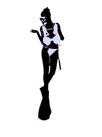 白い背景の上の女性のスキューバ ダイバー アート イラスト シルエット