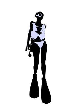 Female scuba diver art illustration silhouette on a white background Stock fotó