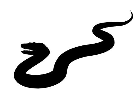 Black snake art illustration silhouette on a white background