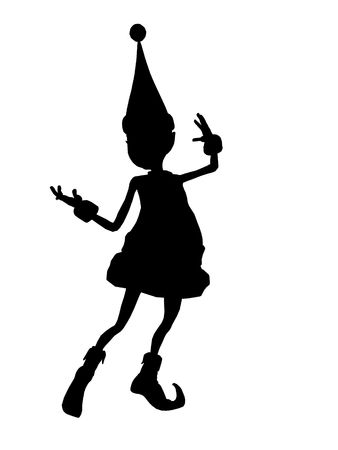 brownie: A  black christmas elf illustration silhouette on a white background