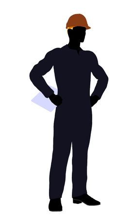 disposition: Male construction worker art illustration silhouette on a white background Stock Photo