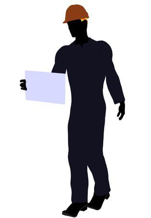 Silueta de ilustración de arte de trabajador de construcción masculina sobre un fondo blanco Foto de archivo - 5682048