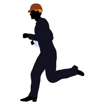 Silueta masculina construcción trabajador arte ilustración sobre un fondo blanco Foto de archivo - 5682070