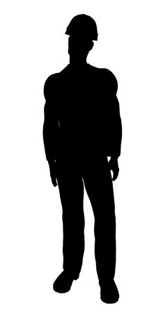 Male construction worker art illustration silhouette on a white background Stock Photo