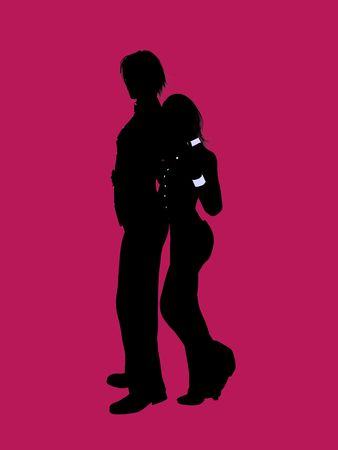 A couple silhouette illustration on a pink background Фото со стока