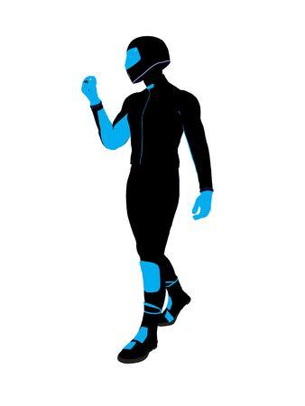 Sport maschile biker arte illustrazione silhouette su uno sfondo bianco  Archivio Fotografico - 5719147