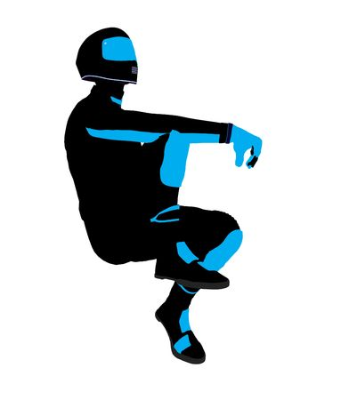 Sport maschile biker arte illustrazione silhouette su uno sfondo bianco  Archivio Fotografico - 5717602