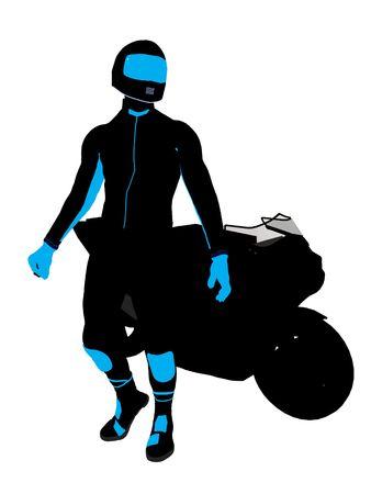 dirt bike: Male sports biker art illustration silhouette on a white background