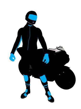 Sport maschile biker arte illustrazione silhouette su uno sfondo bianco  Archivio Fotografico - 5719207