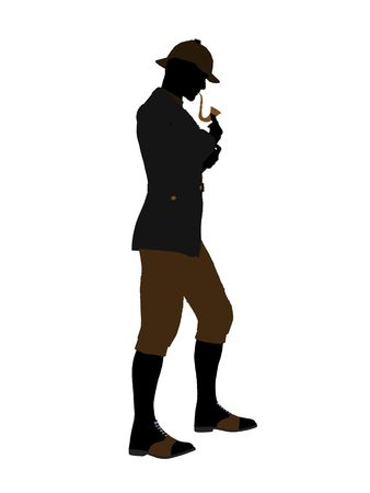 sir: English gentleman art illustration silhouette on a white background