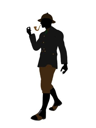 sherlock: English gentleman art illustration silhouette on a white background
