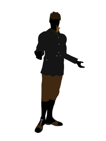 English gentleman art illustration silhouette on a white background