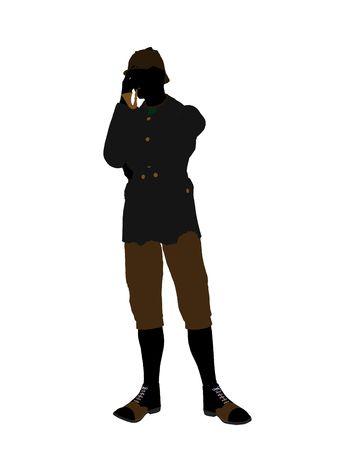 English gentleman art illustration silhouette on a white background