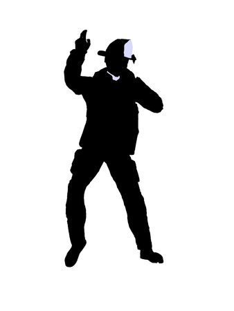 Male firefighter silhouette illustration on a white background