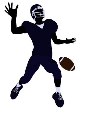 canadian football: Male football player art illustration silhouette on a white background
