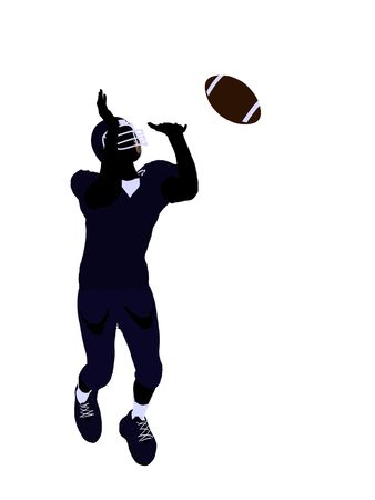 Male football player art illustration silhouette on a white background