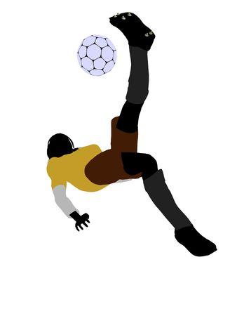 Female football player art illustration silhouette on a white background Zdjęcie Seryjne - 5718648