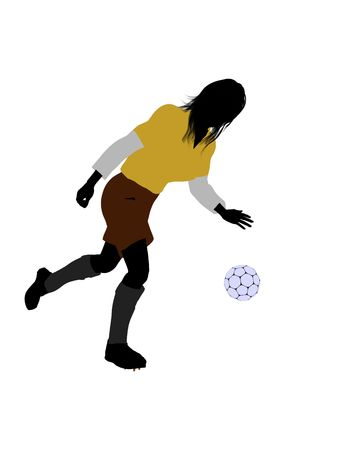 Female football player art illustration silhouette on a white background