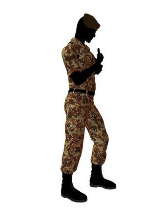 Mannelijk de illustratiesilhouet van de militairkunst op een witte achtergrond Stockfoto - 5719284