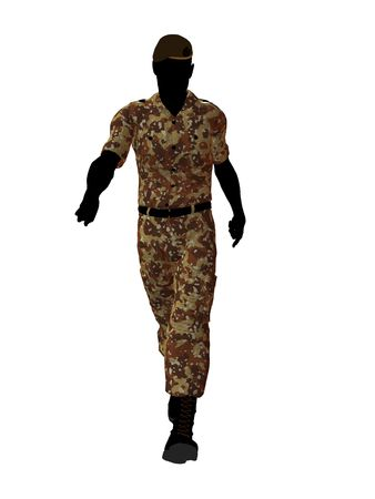 Male soldier art illustration silhouette on a white background