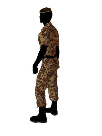 Mannelijk de illustratiesilhouet van de militairkunst op een witte achtergrond Stockfoto - 5719302