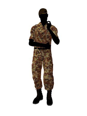 Mannelijk de illustratiesilhouet van de militairkunst op een witte achtergrond Stockfoto - 5719295