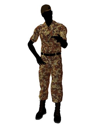 enlisted man: Male soldier art illustration silhouette on a white background