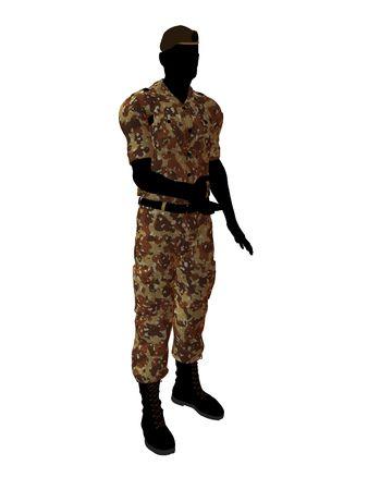 Mannelijke soldaat kunst illustratie silhouet op een witte achtergrond