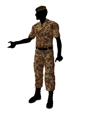 trooper: Male soldier art illustration silhouette on a white background