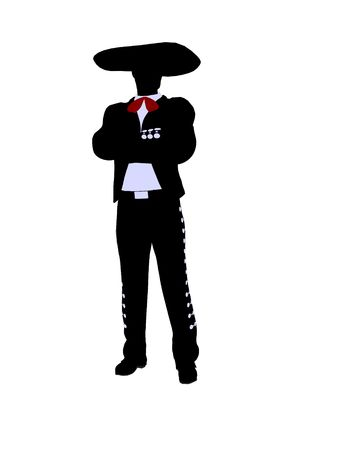 Male mariachi illustration silhouette illustration on a white background