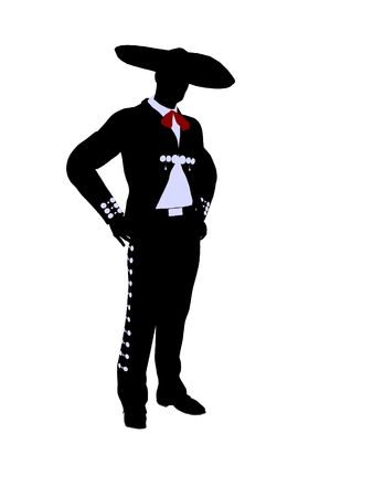 mariachi: Male mariachi illustration silhouette illustration on a white background