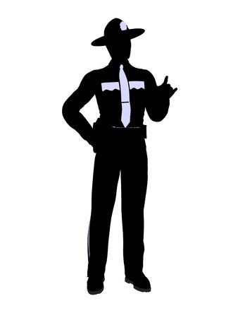 Male police officer silhouette illustration on a white background illustration