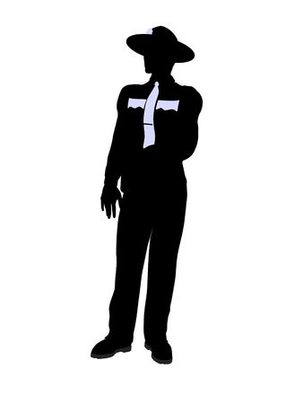 Male police officer silhouette illustration on a white background Imagens