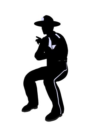 Male police officer silhouette illustration on a white background Stock Photo